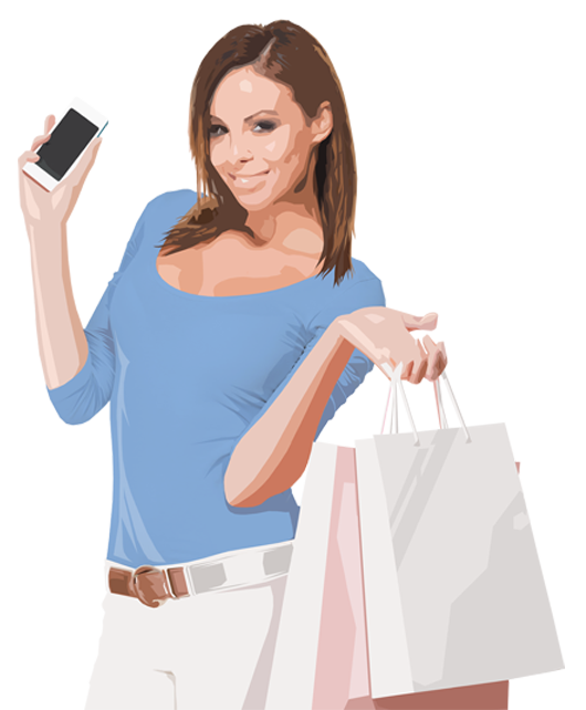 young woman smiling, holding up a phone in one hand and two department store shopping bags in the other