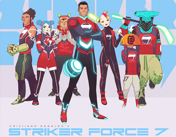 Striker Force 7 artwork featuring Cristiano Ronaldo and his animated friends