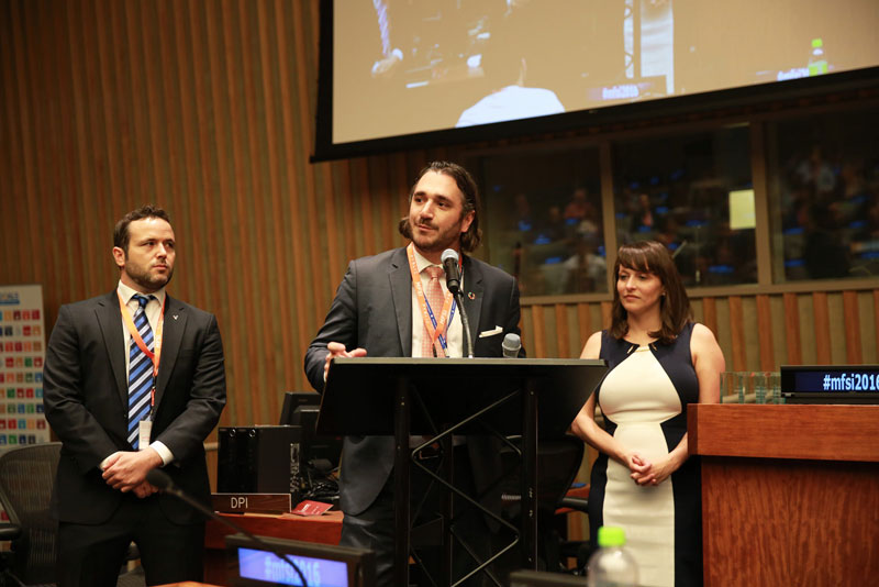 PVBLIC Foundation Co-Founder, Sergio Fernandez de Cordova speaking at the Media for Social Impact 2016 - United Nations
