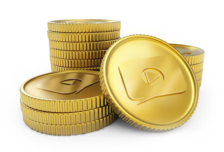 Stack of gold coins with an engraved play button image