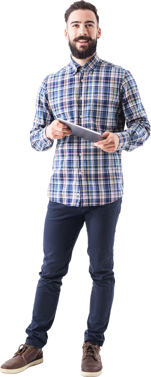 Young bearded millennial standing, smiling, holding a tablet